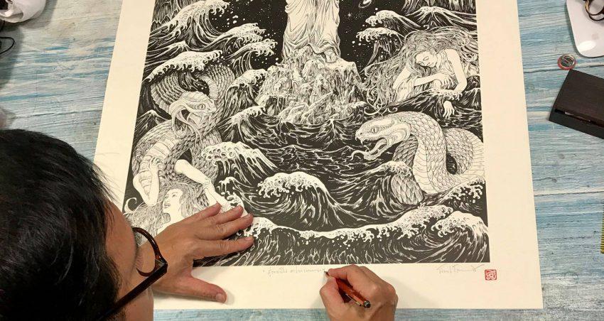 ภาพวาดลายเส้นจาก อารียา เมตายา